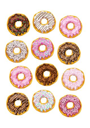 glaze: set of donuts with multicolored glaze on a white background