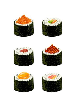 comida japonesa: conjunto de sushi sobre un fondo blanco Vectores