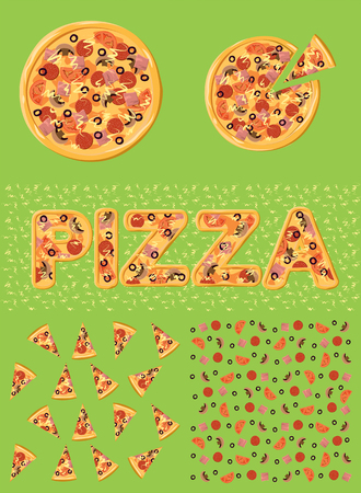 green background texture: pizza Illustration