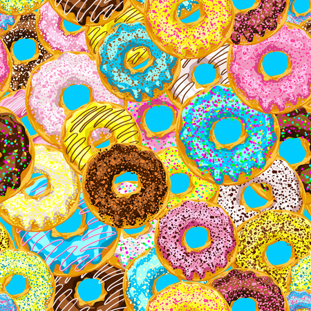glaze: pattern from donuts with multicolored glaze on a color background Illustration