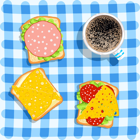 cheerfulness: Breakfast. Sandwiches and coffee on checkered blue background. Food background. Vector illustration