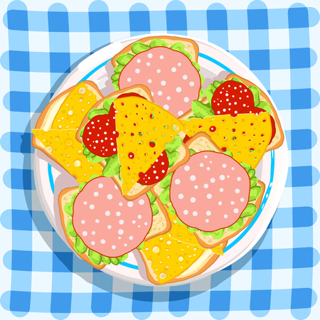 deli sandwich: Breakfast. Sandwiches on checkered blue background. Food background. Vector illustration