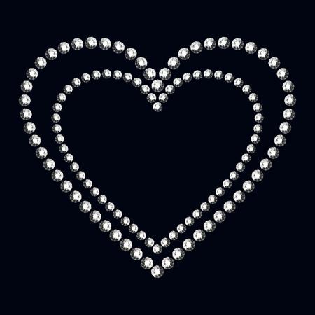 coeur diamant: coeur de diamant sur fond noir. Vector illustration