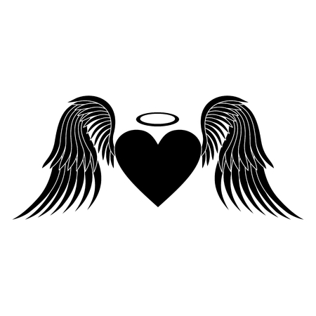 Corazón con las alas. silueta cardíaca. vector del corazón. Icono del corazón. silueta en negro sobre fondo blanco. ilustración vectorial Foto de archivo - 57009425