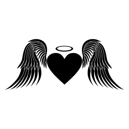 Hart met vleugels. Heart silhouet. Hart vector. Pictogram hart. Zwart silhouet op een witte achtergrond. vector illustratie