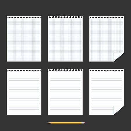 yellow paper: Notebook. Set of sheets of paper. Chequered sheet of paper, ruled sheet of paper and yellow pencil on black background. Vector illustration