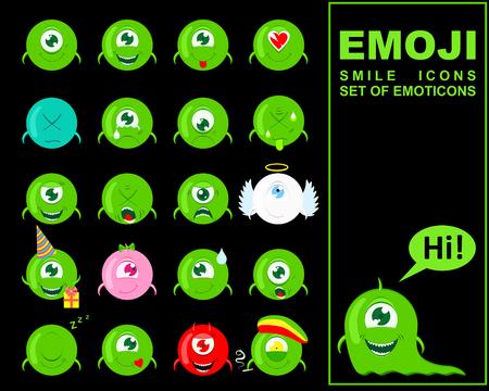 Emoji. Set of Emoticons. Smile icons. Isolated vector illustration on black background