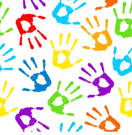 hand print: Hand print. Vector illustration .Seamless pattern. Hand print pattern. Hand print background