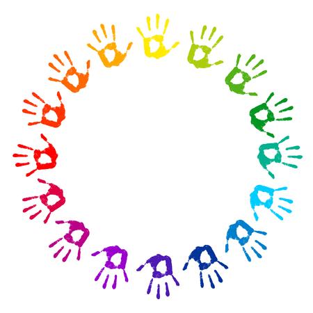Hand print. Cadre ronde sur un fond blanc. mains multicolores estampes. cercle couleur, plage, vecteur, Illustration