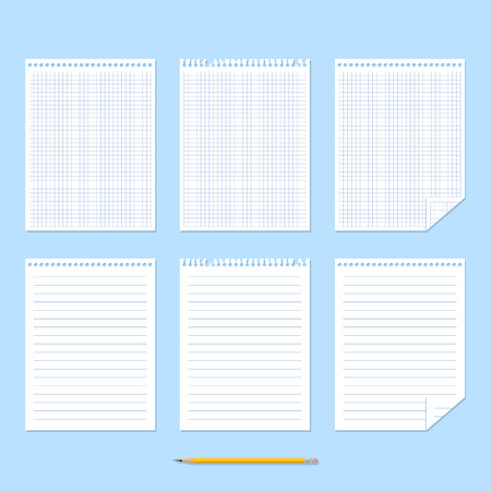 ruled paper: Notebook. Set of sheets of paper. Chequered sheet of paper, ruled sheet of paper and yellow pencil on blue background. Vector illustration