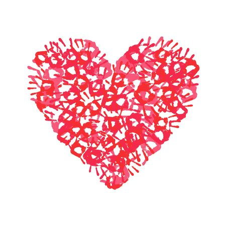 hand print: Heart. Hand print heart on a white background. Heart icon. Multicolored hand print. Vector illustration