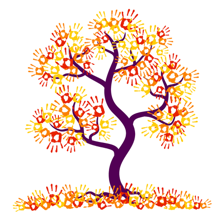 Hand print tree.Autumn tree with yellow, orange and red leaves on a white background. Vector illustration