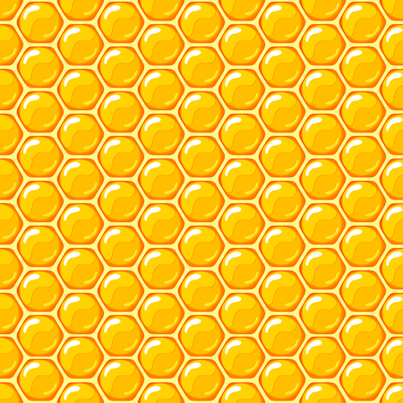 honeyed: Honey. honeycombs.Sweet yellow background. Seamless pattern. illustration Illustration