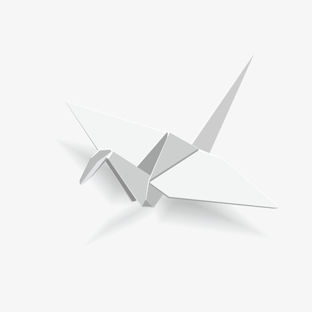 origami bird: Japanese traditional origami bird crane. Vector illustration