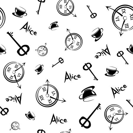 Alice nel paese delle meraviglie. Seamless pattern
