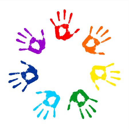 color registration: Hand print. Round frame on a white background. Vector illustration Illustration