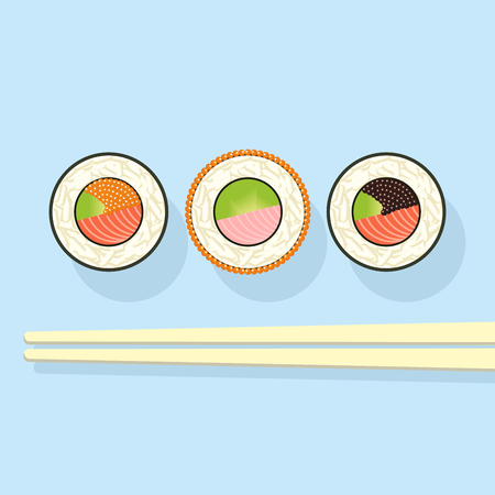 Sushi set and the Chinese sticks on a blue background. Icons. vector illustration Illustration