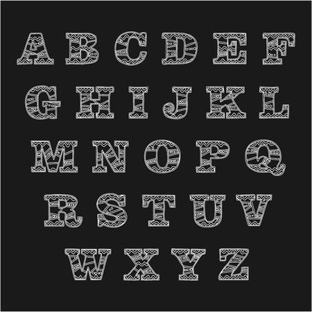 White contour alphabet on black background, Alphabet Hand drawn graphic font simple stylized design.Vector illustration