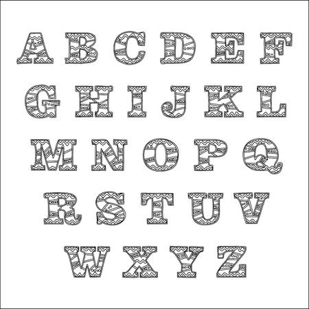 Black contour alphabet on white background, Alphabet Hand drawn graphic font simple stylized design.Vector illustration