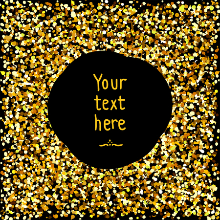 gold circle: Gold confetti. Golden round frame with sparkles. Gold sparkles on black background. Gold glitter background with text. Template for design. Gold sparkle circle for your text.