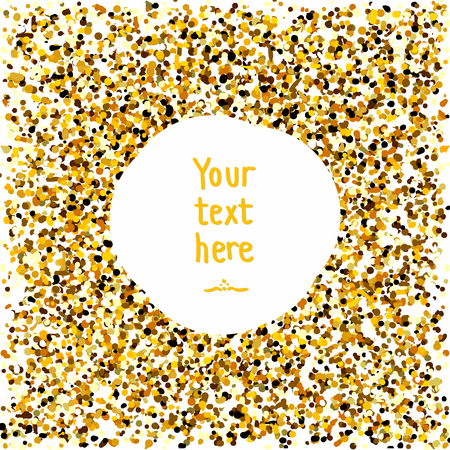 Gold confetti. Golden round frame with sparkles. Gold sparkles on white background. Gold glitter background with text. Template for design. Gold sparkle circle for your text.
