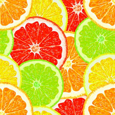 Citrus fruits. Orange, lemon, lime, grapefruit. Seamless pattern citrus fruit. Fruit background. Vector illustration