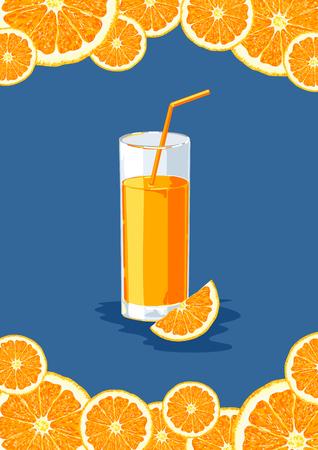 Glass with orange juice and orange segment on a blue background. Orange citrus fruit. Vector illustration