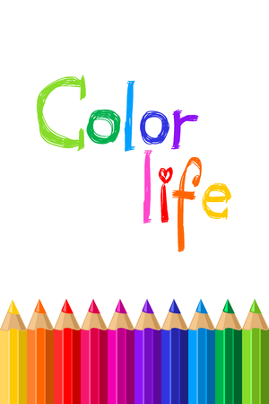 Set of colored pencils on a white background. Color pencil. Vector illustration