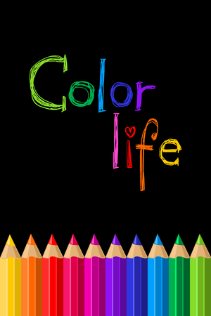 Set of colored pencils on a black background. Color pencil. Vector illustration Illustration