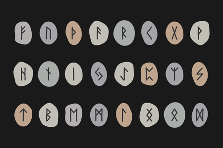 germanic: Scandinavian runes. Runic stones on a black background. Vector illustration