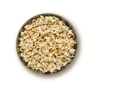 bowl with popcorn on a white background Stock Photo