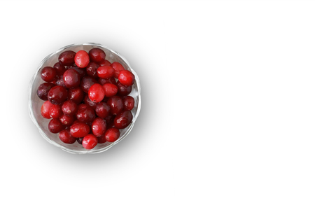 bowl with a cranberry on a white background