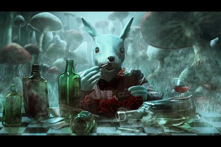 """conejo: ilustración conejo blanco con el libro """"Alicia en el país de las maravillas"""""""