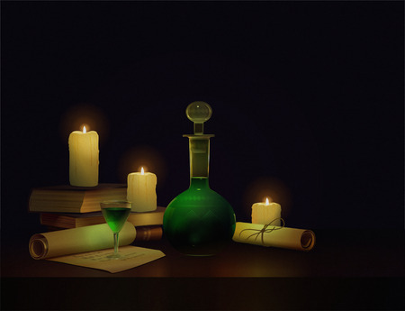 ancient books: magic potion, ancient books and candles
