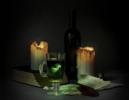 pócima: poción mágica, libros antiguos y velas