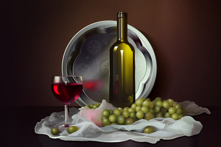 Still life with wine and grapes. Bottle, glass with wine and grapes against a dark background. Alcohol and fruit. Food background. Food and drink illustration