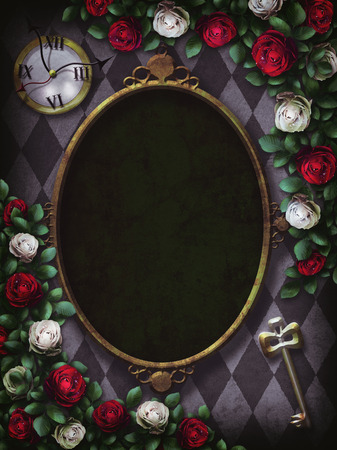 Alice in Wonderland. Red roses and white roses on chess background. Clock and key. Wonderland background. Rose flower frame. Oval frame.Illustration