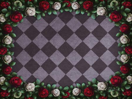 Alice nel paese delle meraviglie. Rose rosse e rose bianche su sfondo a scacchi. sfondo delle meraviglie. Rosa fiore cornice. Illustrazione Archivio Fotografico