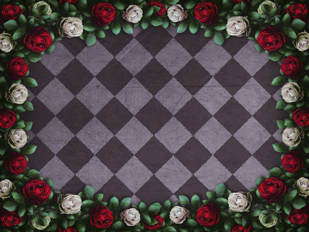 Alice in Wonderland. Red roses and white roses on chess background. Wonderland background. Rose flower frame. Illustration Stock Photo