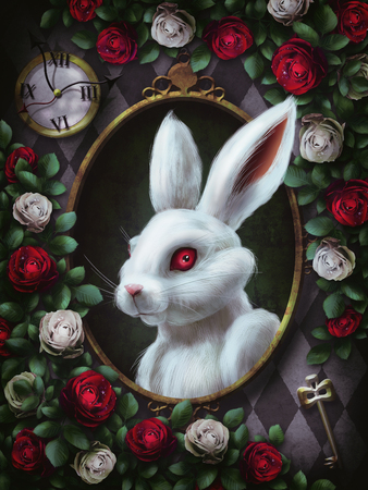 White rabbit from Alice in Wonderland. Portrait in oval frame, clock, key, red roses and white roses on chess background. The character from Alice in Wonderland. Illustration 스톡 콘텐츠