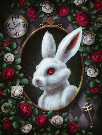 Coniglio bianco di Alice nel paese delle meraviglie. Ritratto in cornice ovale, orologio, chiave, rose rosse e rose bianche su sfondo a scacchi. Il personaggio di Alice nel paese delle meraviglie. Illustrazione