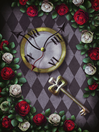 Alice in Wonderland. Red roses and white roses on chess background. Clock and key. Wonderland background. Rose flower frame. Illustration