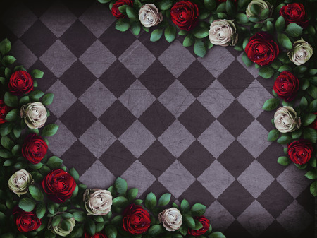 Alice in Wonderland. Red roses and white roses on chess background. Wonderland background. Rose flower frame. Illustration 스톡 콘텐츠