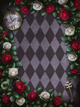 alice: Alice in Wonderland. Red roses and white roses on chess background. Clock and key. Wonderland background. Rose flower frame. Illustration