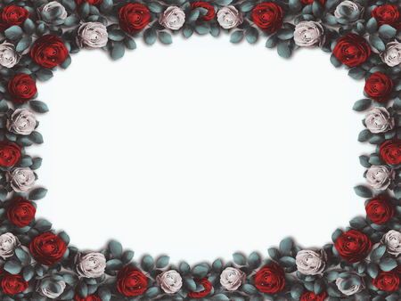 alice: Alice in Wonderland. Red roses and white roses on white background. Wonderland background. Rose flower frame. Illustration
