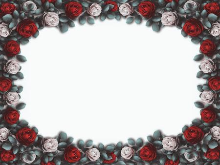 Alice nel paese delle meraviglie. Rose rosse e rose bianche su sfondo bianco. sfondo delle meraviglie. Rosa fiore cornice. Illustrazione Archivio Fotografico