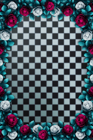 Alice in Wonderland. Red roses and white roses on chess background. Rose flower frame. Wonderland background. Illustration