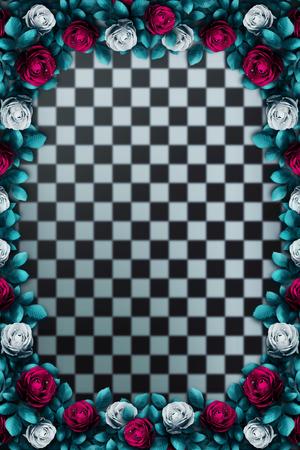 Alice in Wonderland. Red roses and white roses on chess background. Rose flower frame. Wonderland background. Illustration