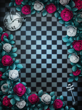 Alice in Wonderland. Red roses and white roses on chess background. Clock and key. Rose flower frame. Wonderland background. Wonderland wallpaper. Illustration