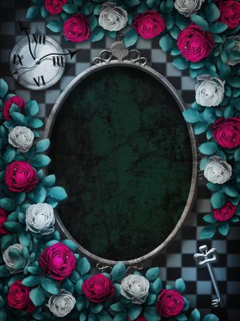 Alice nel paese delle meraviglie. Rose rosse e rose bianche sullo sfondo di scacchi. Orologio e chiave. Cornice fiore rosa. Cornice ovale. Priorità bassa di Wonderland. Carta da parati di meraviglia. Illustrazione Archivio Fotografico